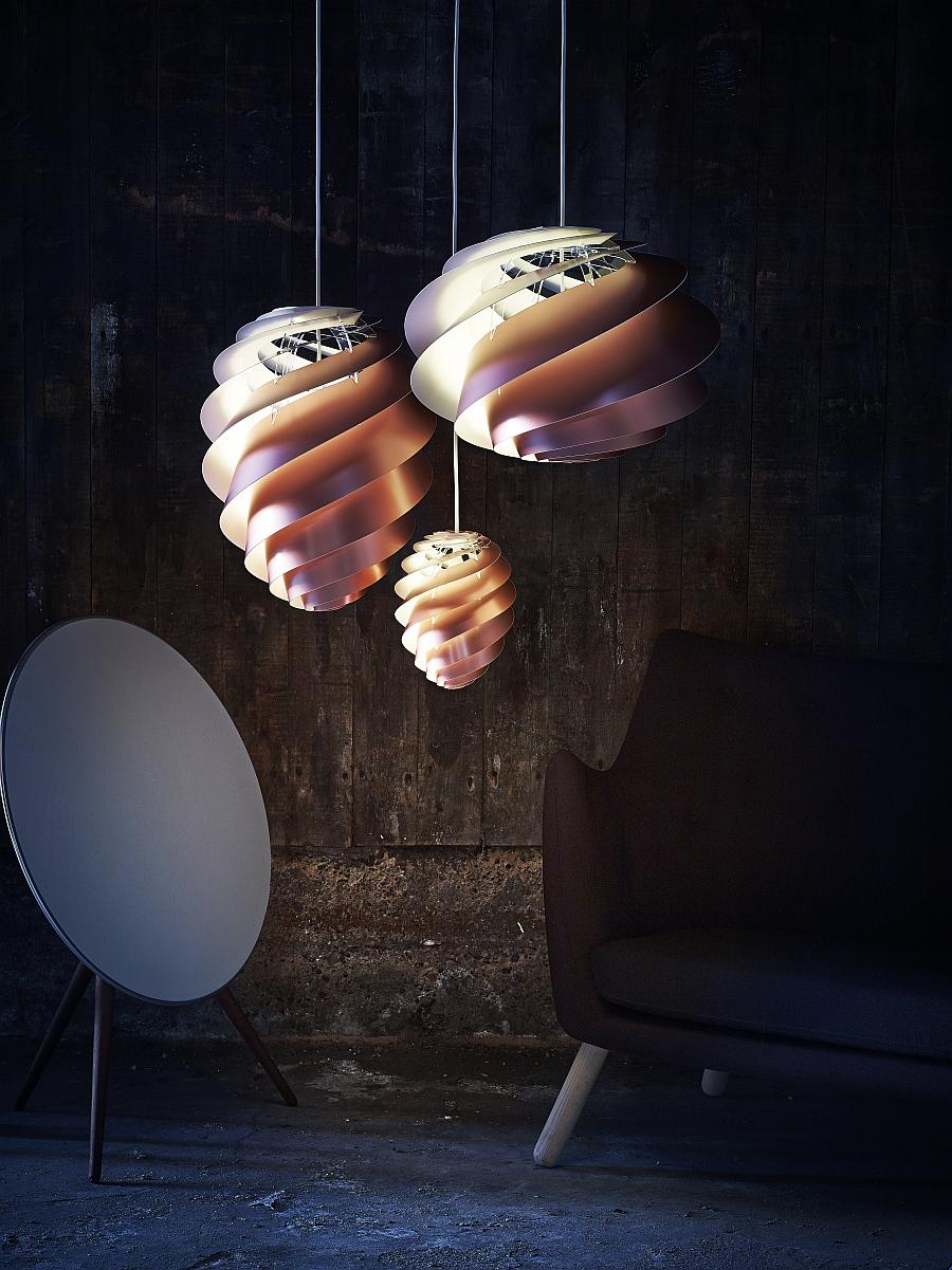 Swirl pendant lights from Le Klint in copper