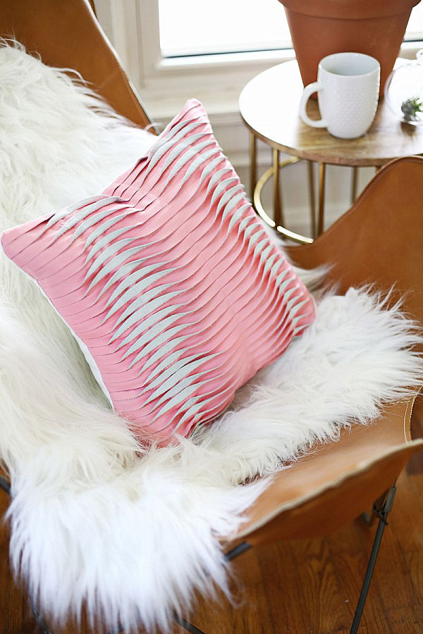 Textured leather pillow DIY project