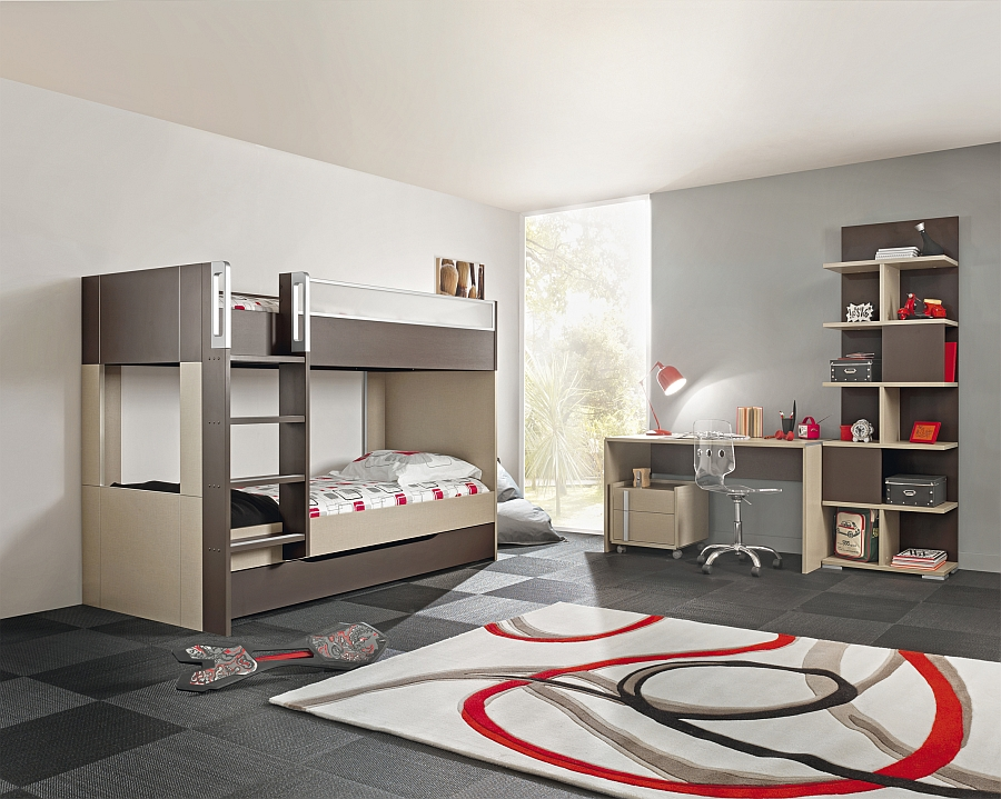 The addition of a ladder to the bunk bed makes this kids' room even more exciting