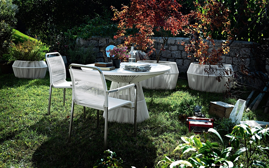 Tibidabo cocktail tables and dining set in white
