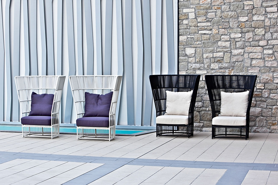 Tibidabo high back lounge chair in White and Black