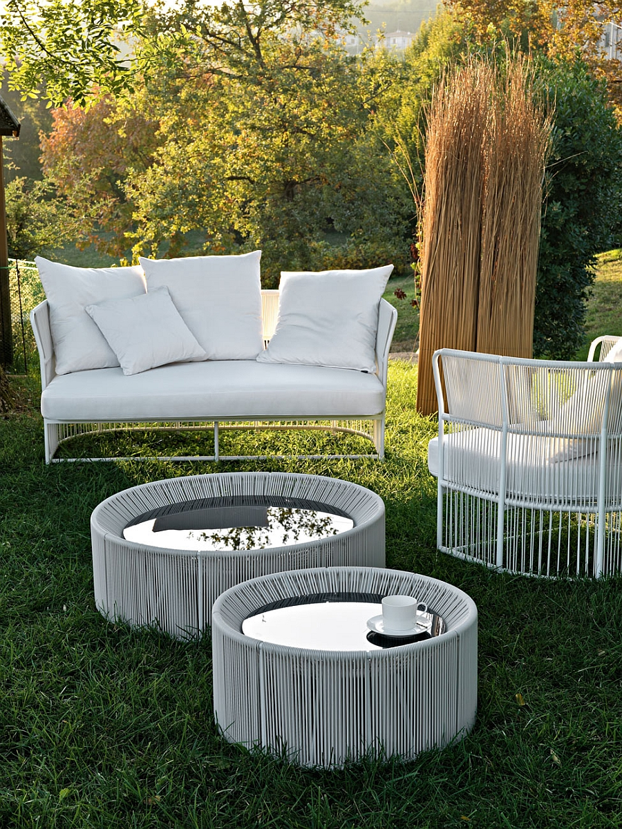 Tibidabo lounge armchair and sofa with a light aluminum frame