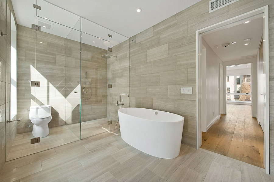 Tranquil and soothing contemporary bath with a standalone bathtub