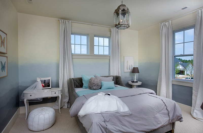 Transitional bedroom with blue ombre walls