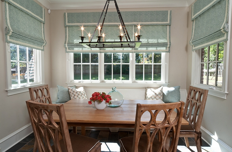 Transitional dining area with ample natural ventilation