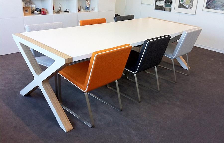 Trendy design of the X Dining Table stands out in a contemporary setting