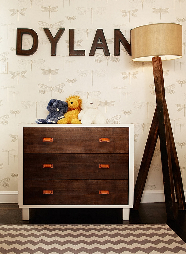 Trendy kids room with a smart tripod lamp from Anthropologie