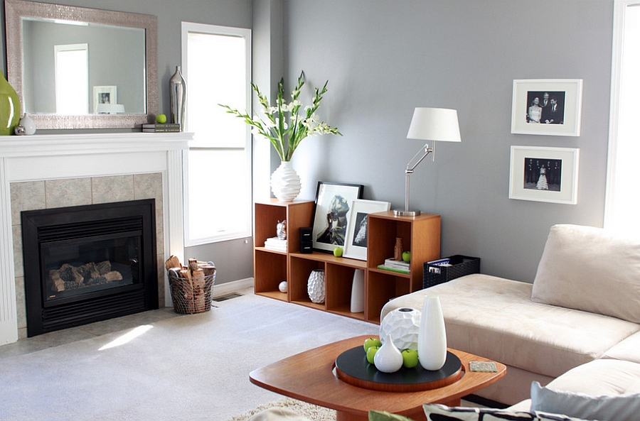 Trendy living space in gray looks dashing even without the subtle green accents