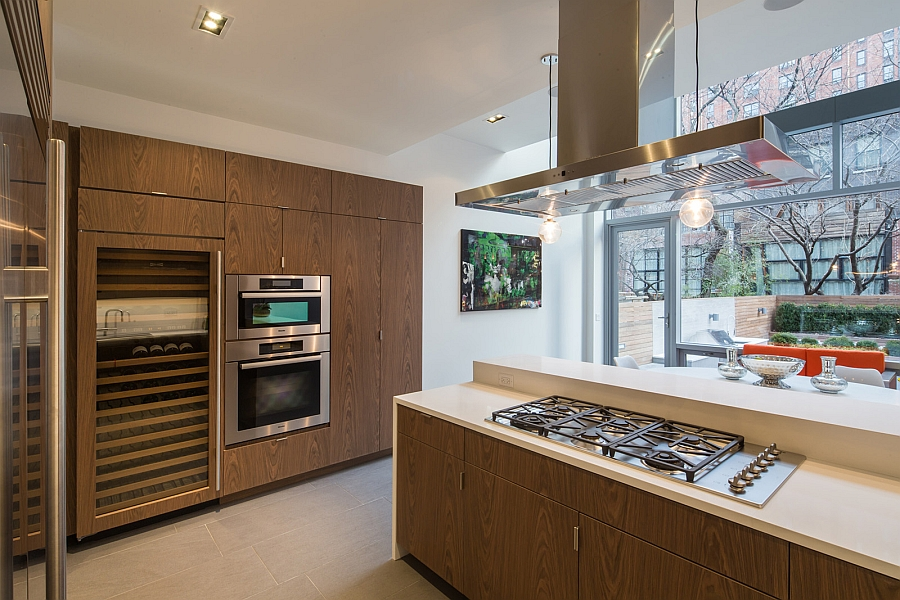 Trendy modern kitchen with wooden cabinets