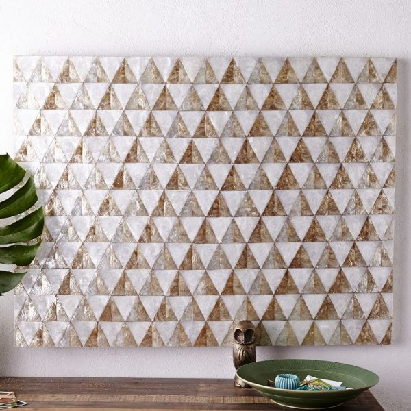Triangle-motif capiz wall art