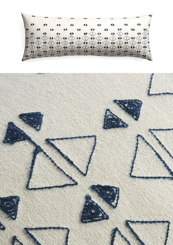 Triangle-motif pillow