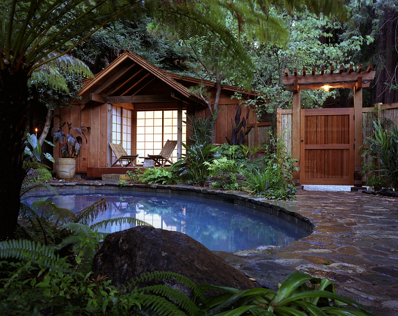 Tropical style pool area has a serene vibe to it