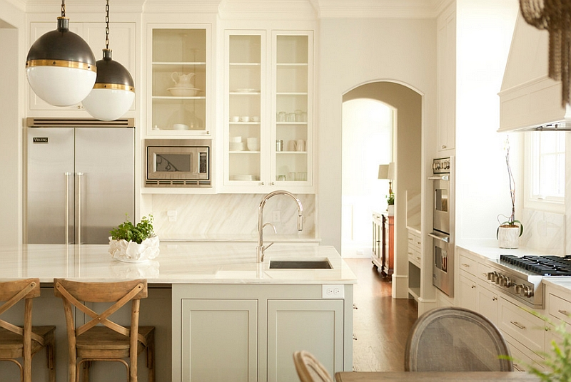 Twin small Hicks Pendants in the traditional kitchen