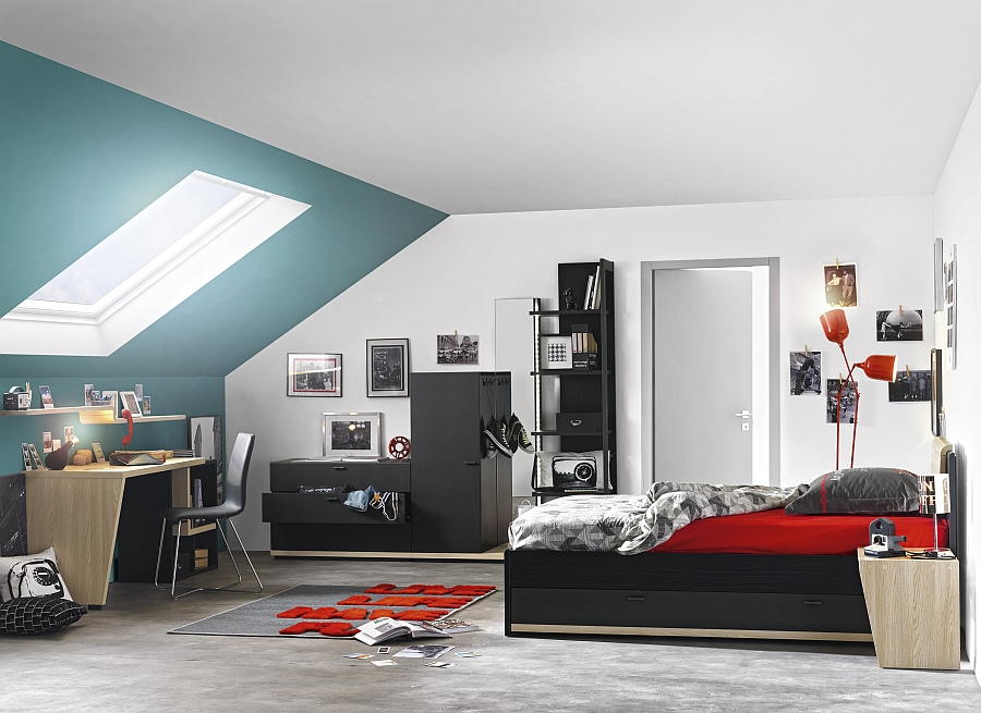 Urban bedroom from Gautier combines bright accent hues with the classic Black and White look
