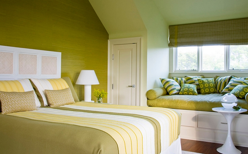 Use fabric accents to usher in a contrasting hue in the bedroom