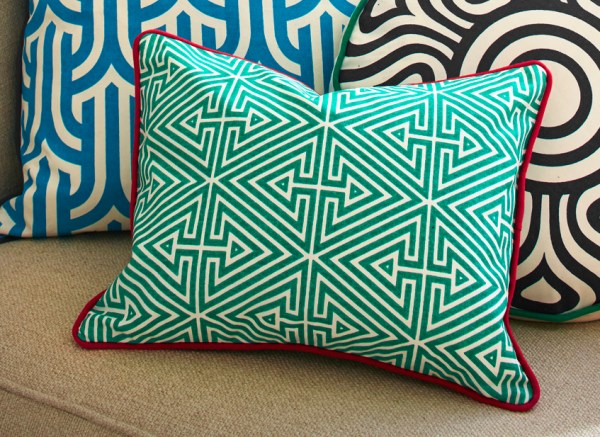 Vivid geometric throw pillow from Jonathan Adler