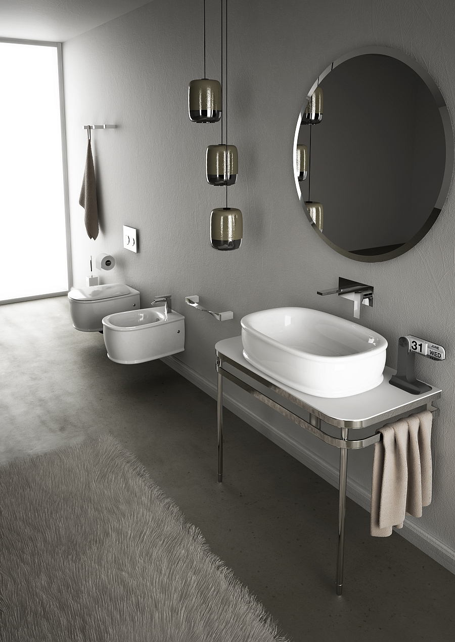 Wall-hung bidet and wc inspired by the classic design of the 50s