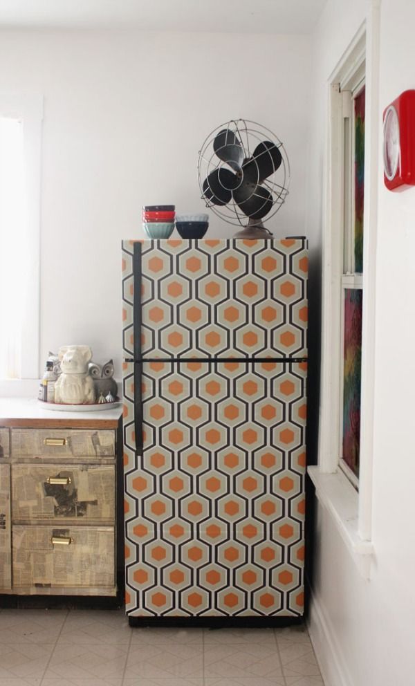 Wallpaper fridge makeover
