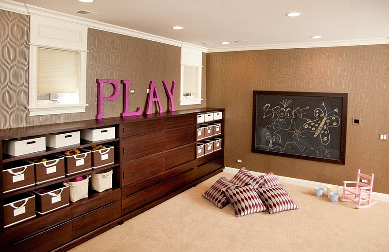 Walls add textural and visual contrast to the basement playroom
