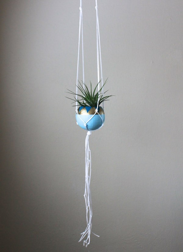 White macrame hanging planter from Thrifted & Made