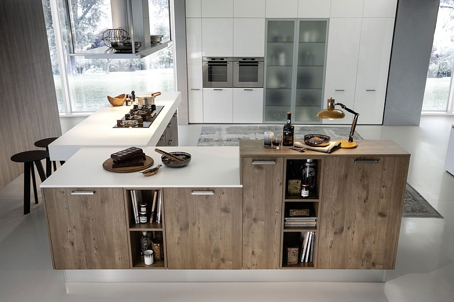 Wooden kitchen island with white countertops makes an interesting visual