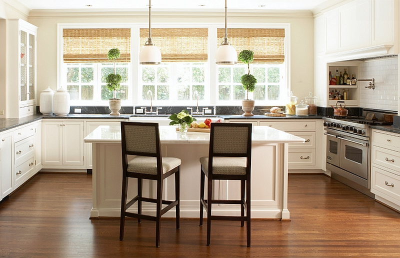 Woven wood roman shades for the eco-friendly kitchen