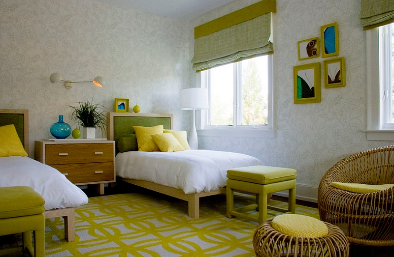 Yellow and green bedroom looks awesome in spring, summer and fall!