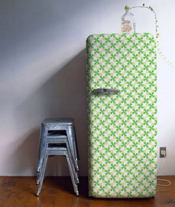patterned-wallpaper fridge