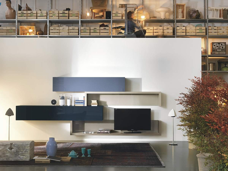 36e8 modular storage units make up the living room entertainment hub