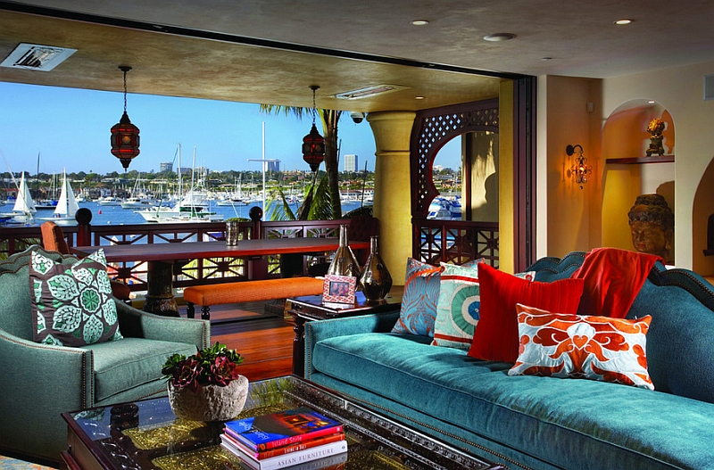 Moroccan Style Living Room Furniture. View In Gallery A Colorful And  Stunning Getaway With A Bay View