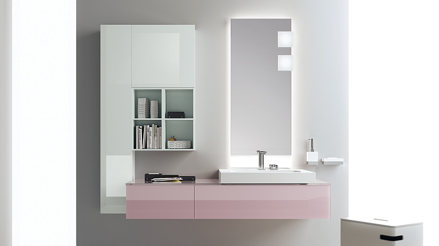 A dash of pretty pink for the cool bathroom vanity