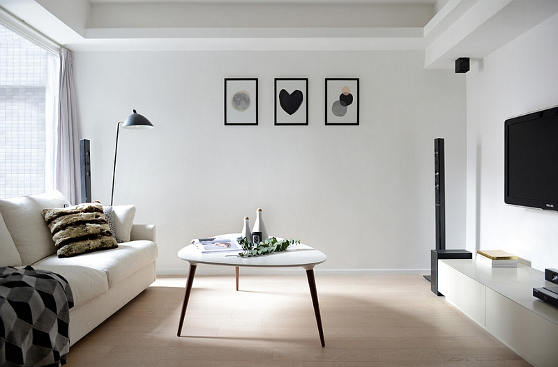 A minimal Scandinavian style to the living room in black and white