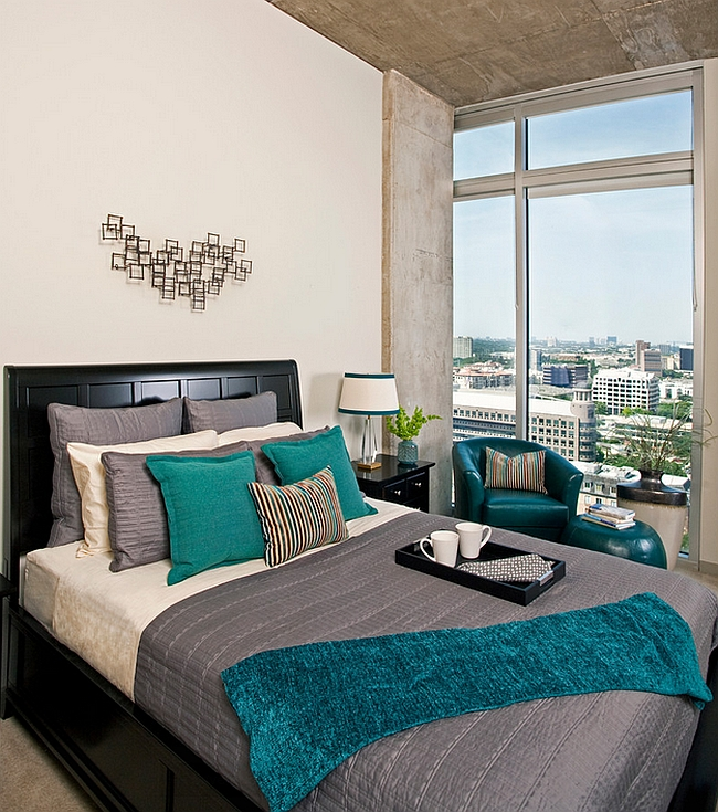 A more masculine use of teal accents in the bedroom!