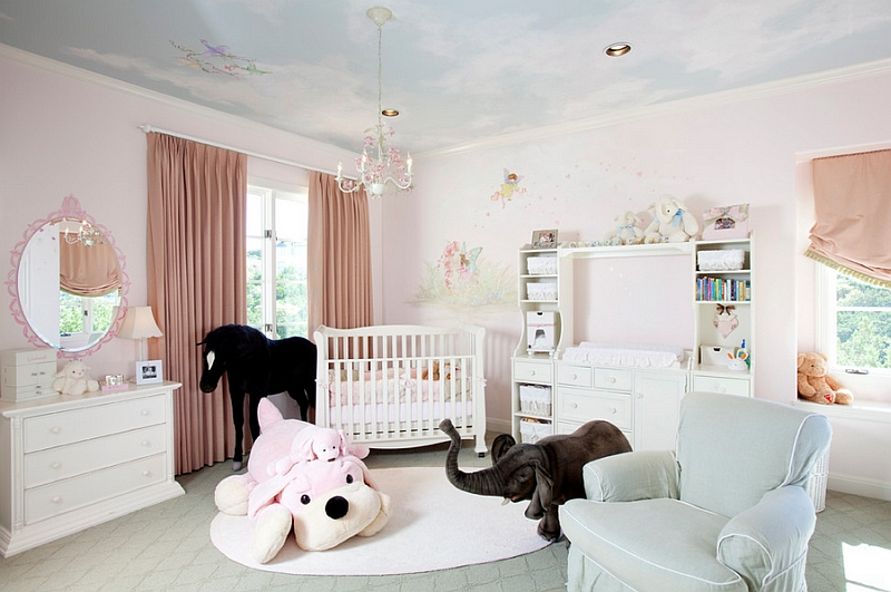 A painted ceiling transforms the appeal of the contemporary nursery