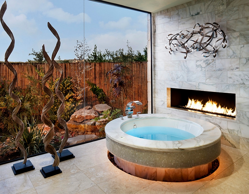 A scorching hot fireplace to complement the opulence of the Jacuzzi with jets in the bath