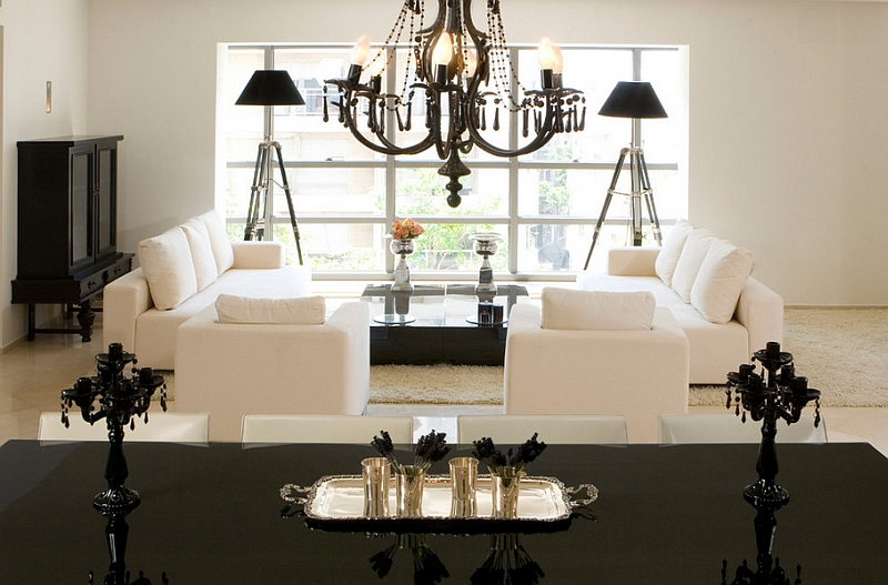 A simple approach to the black and white color scheme in the contemporary living room