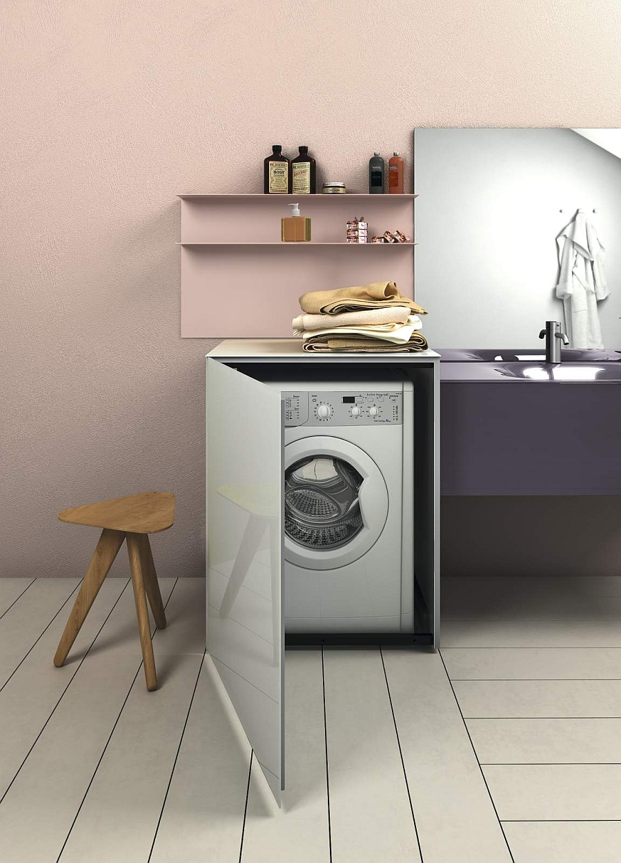 A wonderful way to tuck away the washing machine in the laundry room