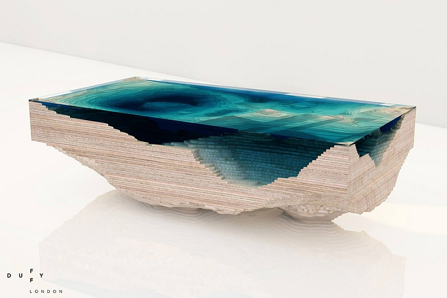 Abyss Table inspired by the real contours of the sea bed
