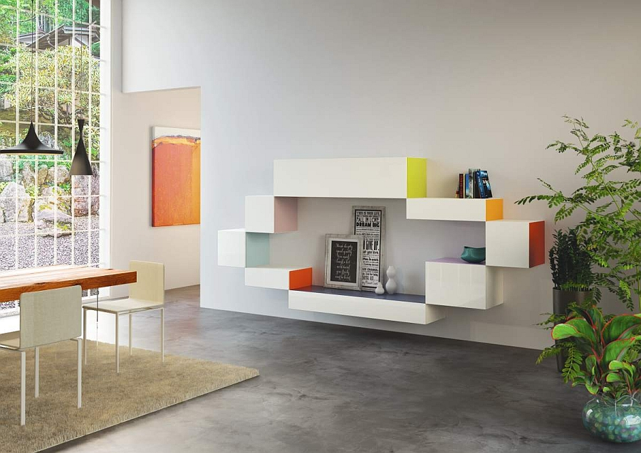 Add a pinch of accent color to the living room with trendy modular storage units Innovative Wall Mounted Units Bring Design Freedom Draped In Sleek Modularity