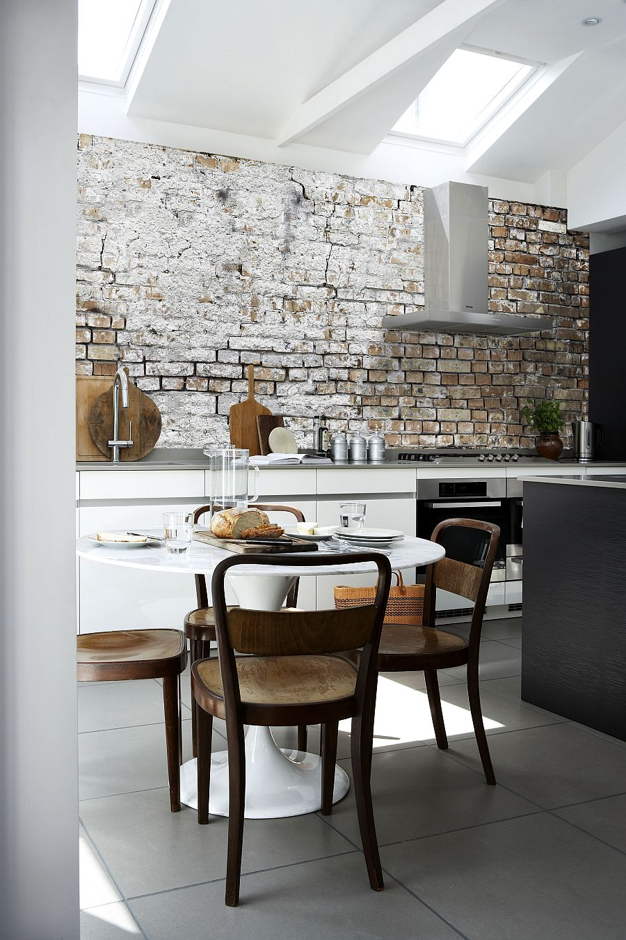 View In Gallery Aged Brick Wall Wallpaper In The Kitchen Combines Two Hot  Design Trends!