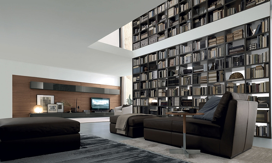 View In Gallery Amazing Floor To Ceiling Library Unit Extends All The Way  Up Into The Second