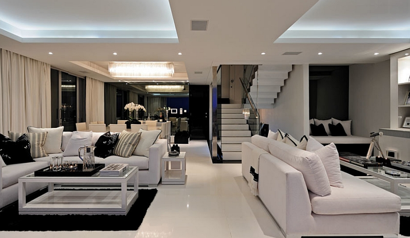 An open floor living area with black and white color scheme