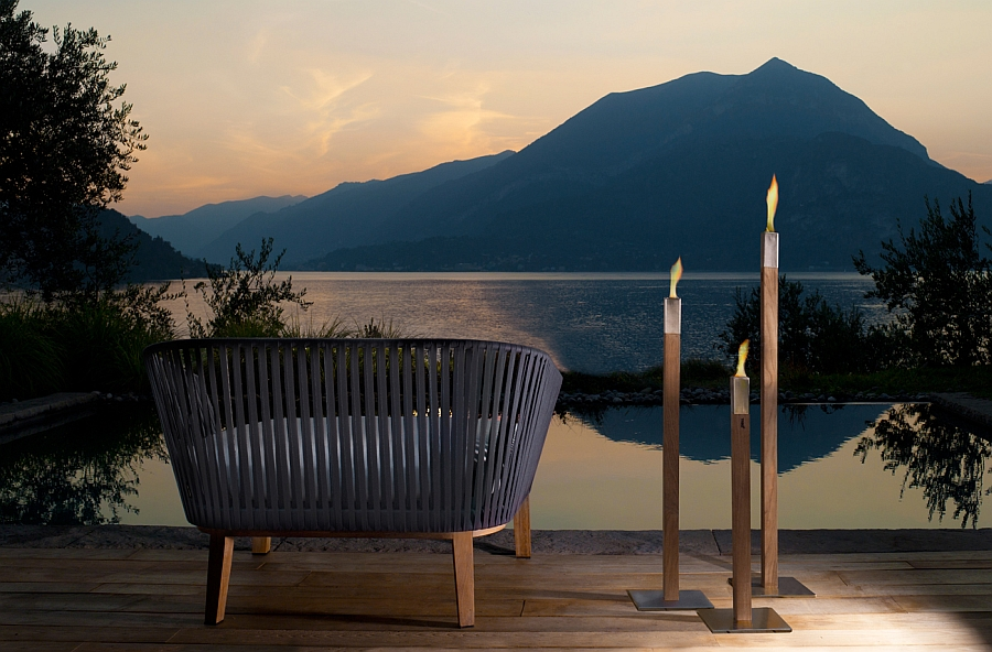 An outdoor lounge with scenic views and luxurious seating