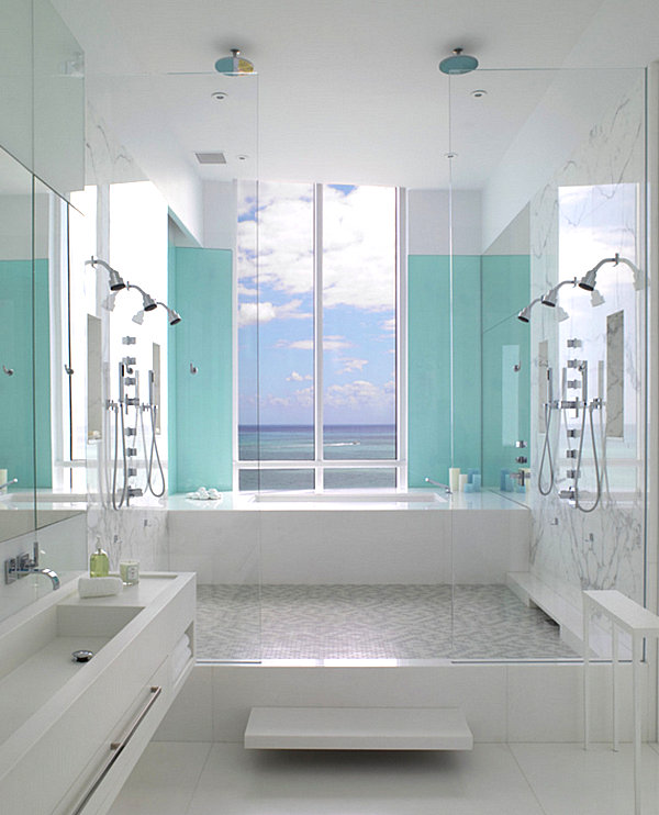 Aqua blue in the powder room decoist for Powder blue bathroom ideas