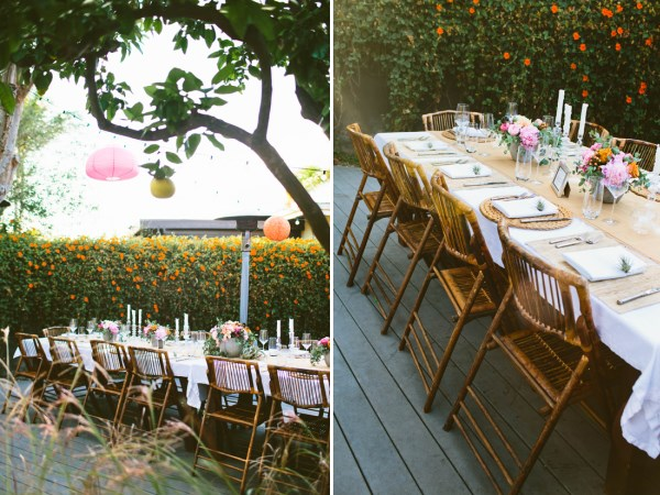 Backyard party with a serene table setting