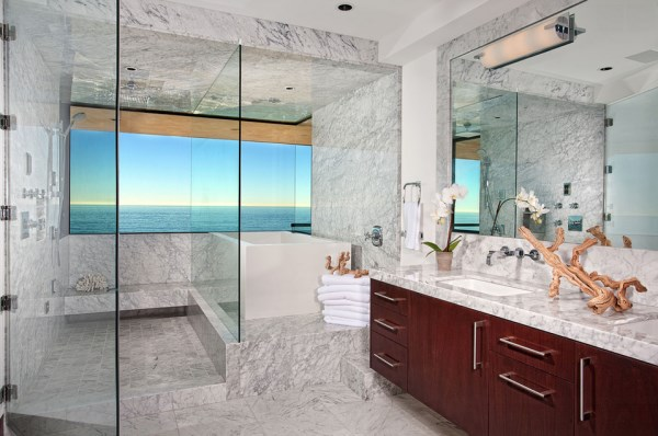 Beachfront bathroom with marble