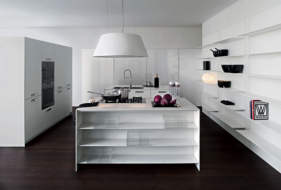 View in gallery Beautiful Italian kitchen in white with a smart central  island