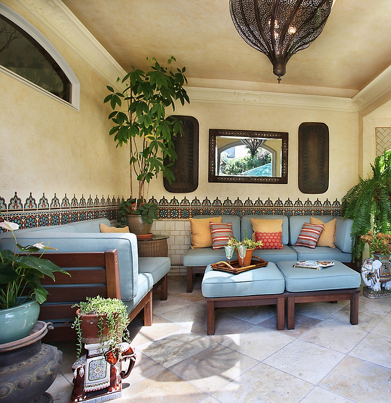 Beautiful Moroccan patterns and tile enliven the cool patio