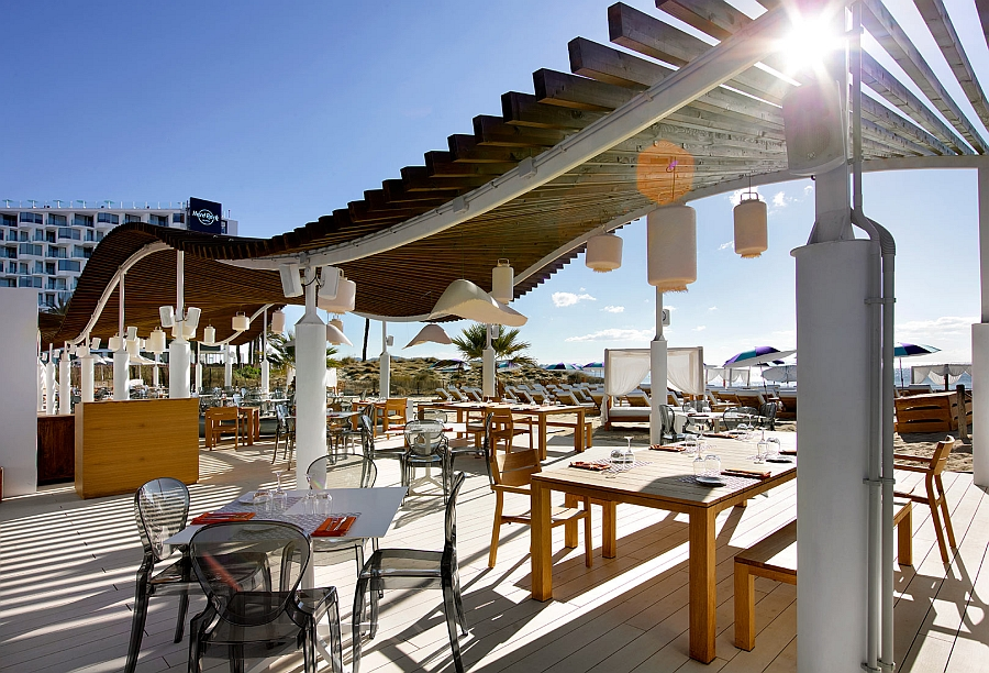 Beautiful and relaxing Beach Club at the Hard Rock Hotel in Ibiza