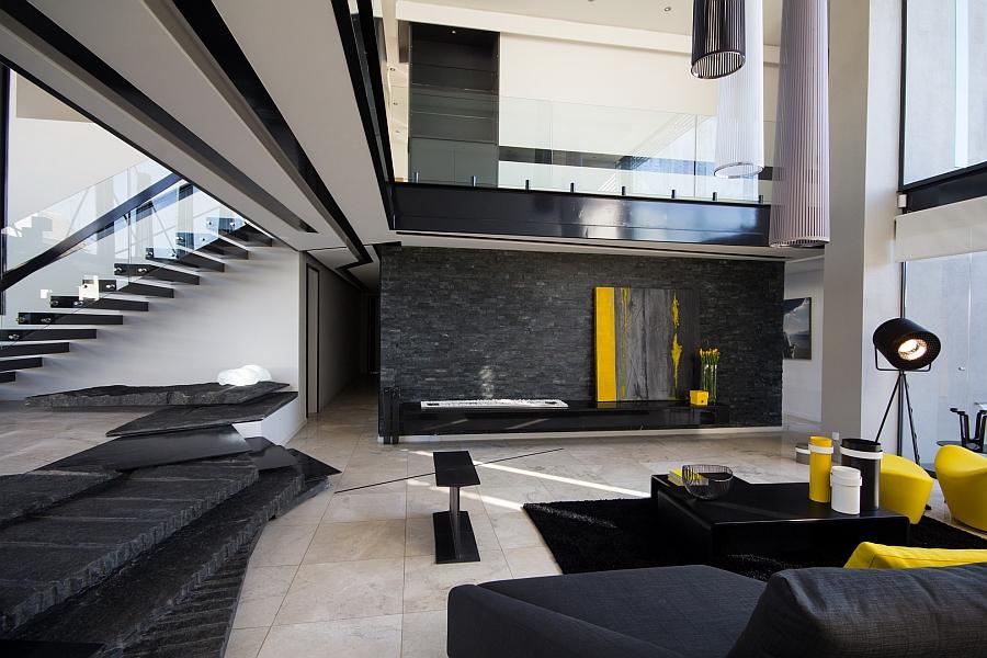Beautiful living room that embraces dark black tones